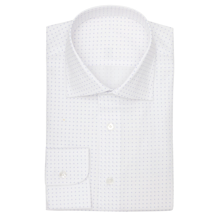 white oxford fine print l.blue