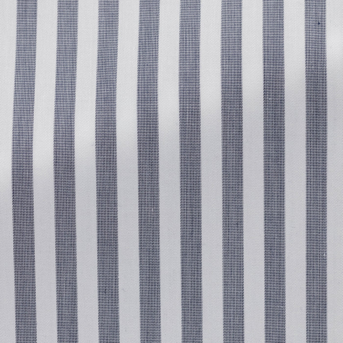 WHITE COTTON WITH NAVY STRIPE