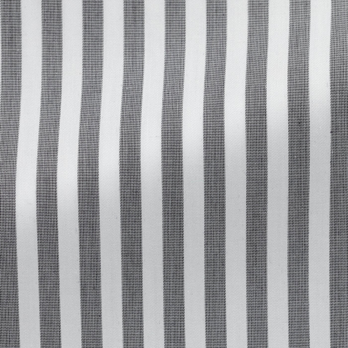 WHITE COTTON WITH DARK GREY STRIPE
