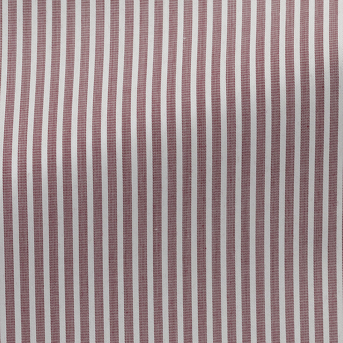 WHITE COTTON WITH BORDEAUX STRIPES