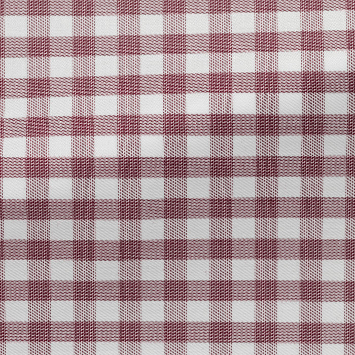 WHITE COTTON WITH BORDEAUX CHECK