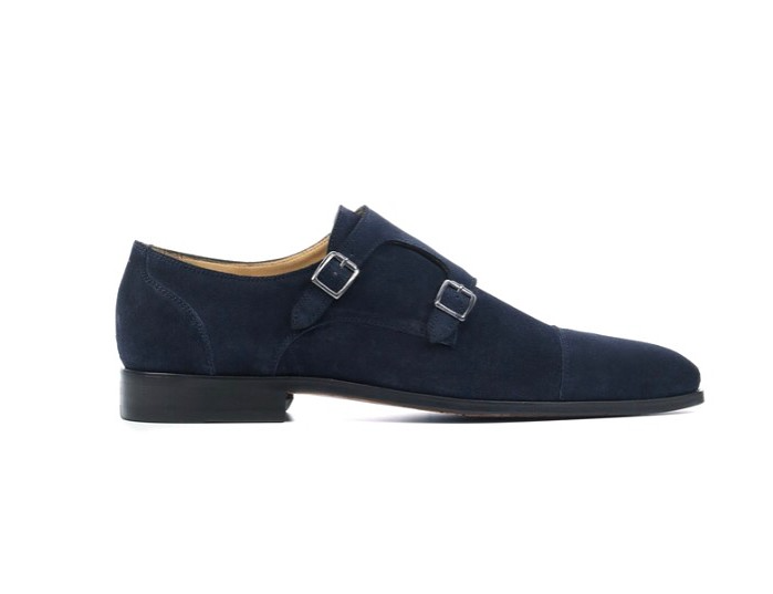 Dark Blue Suede Double Monkstrap