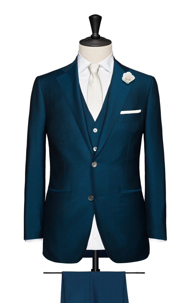 3-PIECE TEAL BLUE WEDDING SUIT