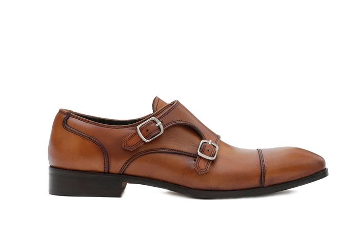 Cognac Leather Double Monkstrap