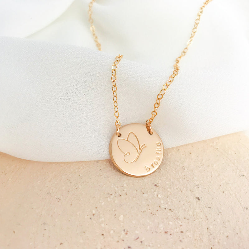 Butterfly Love - Large Curved Writing Necklace