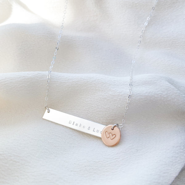 Blake - Sterling Silver Bar Necklace with Rose Gold Pendant