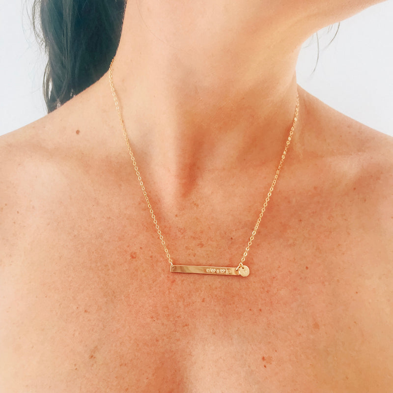 Sammy - Skinny Bar Necklace with Tiny Pendant