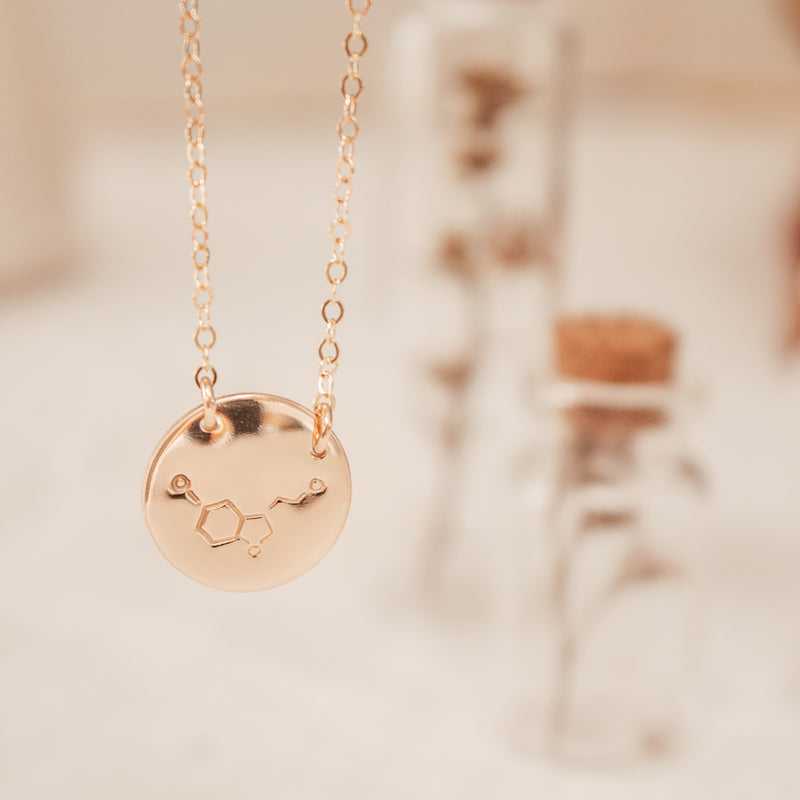 Serotonin - Chemical Symbol - Large Pendant Double Hole Necklace