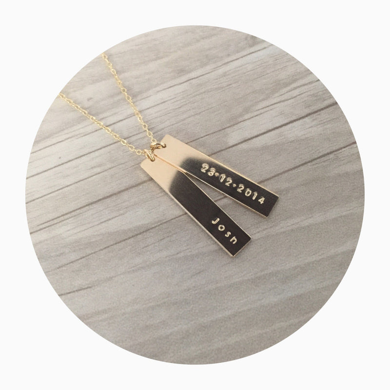 double hanging bar name necklace australia