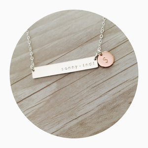 Sterling Silver Bar name Necklace australia with Rose Gold Pendant