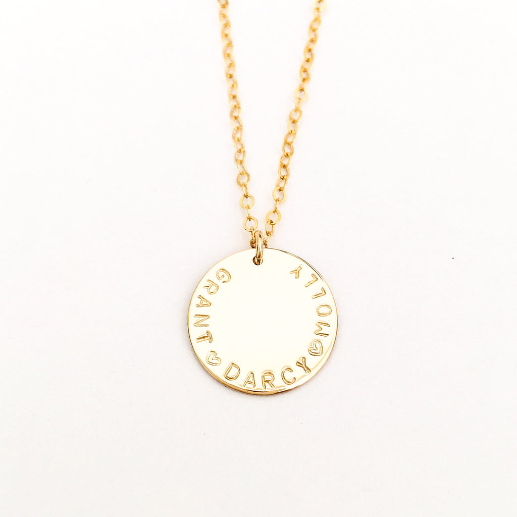 Edie - CURVED WRITING - Large Pendant Necklace
