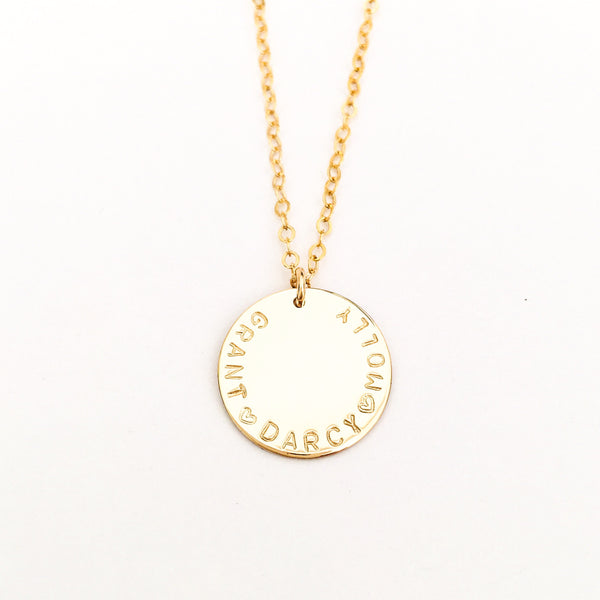 edie large pendant with curved writing hand stamped jewellery australia