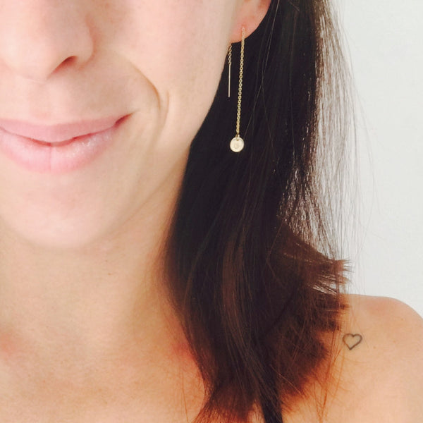 woman wearing Esther thread through earrings, hand stamped jewellery Australia