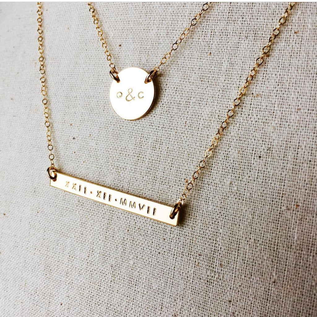 Isla Bar and Sienna Pendant Necklaces hand stamped jewellery australia