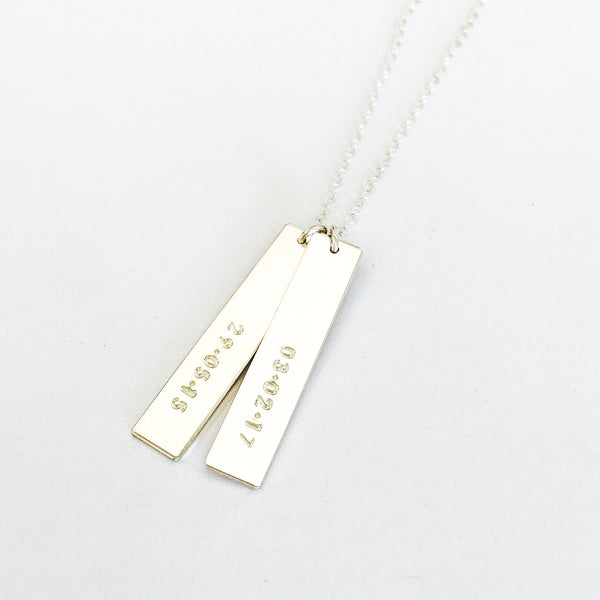 double hanging bar name necklace australia, hand stamped jewellery australia