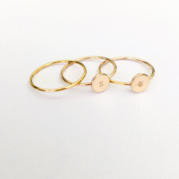 Image of three stacking rings, hand stamped jewellery Australia