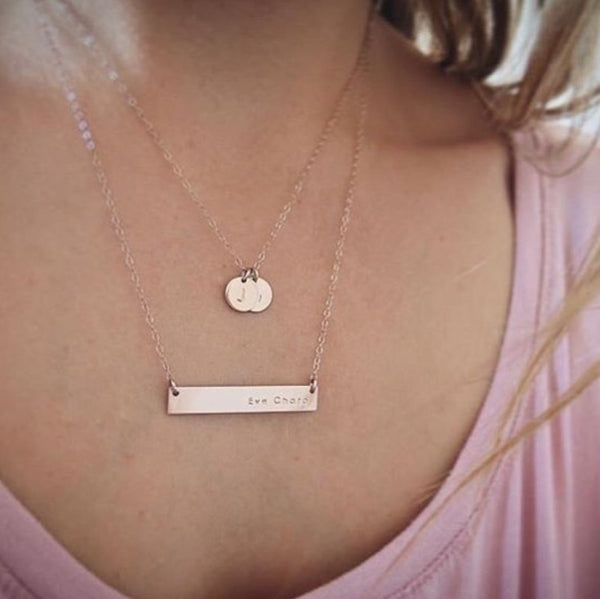 model wearing Mia Bar and Sofia Pendant Necklace, bar name necklace australia