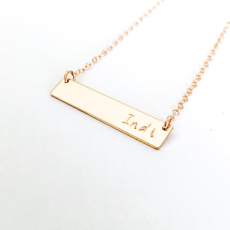 Indi short bar name necklace australia