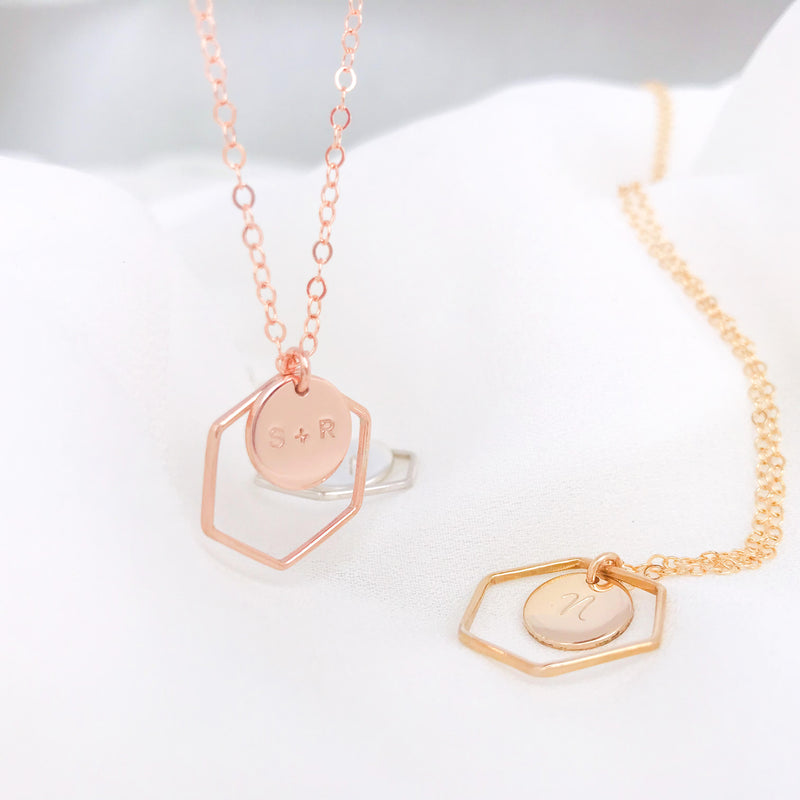 Tori - Hexagon Ring Necklace