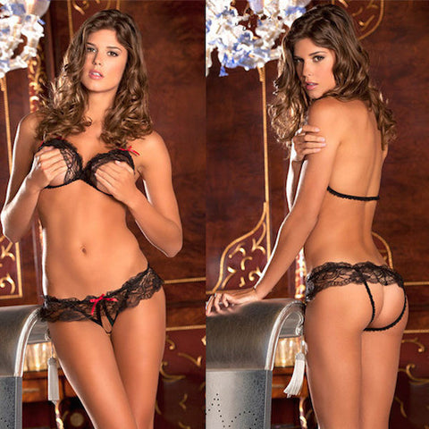 STRAPPY LACE BRA WITH PANTY