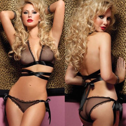 MESH BRA WITH SATIN STRAP & PANTY