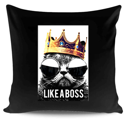 Like A Boss Funny Cat Queen King Kitty Golden Gold Crown Pillow Case Cover