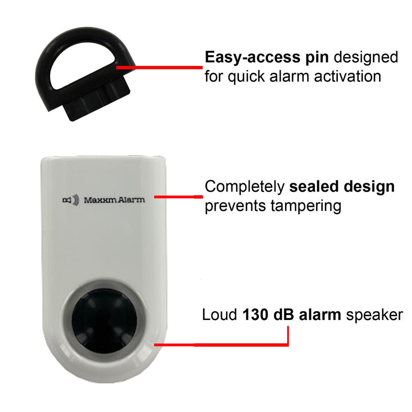 Portable Personal Security Alarm White-Black - MaxxmAlarm