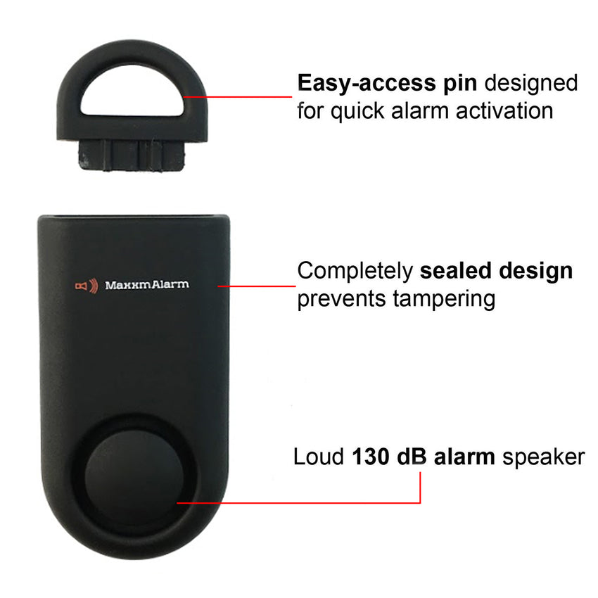 Portable Personal Security Alarm Matte Black - MaxxmAlarm