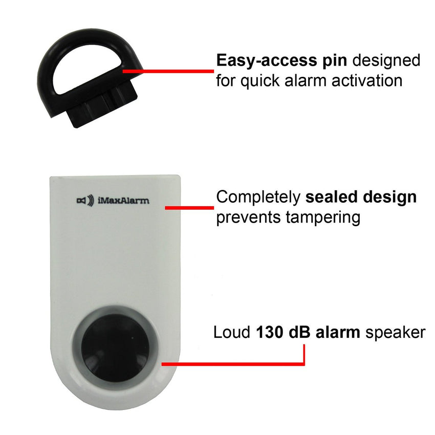 Portable Personal Security Alarm 10-Pack White-Black