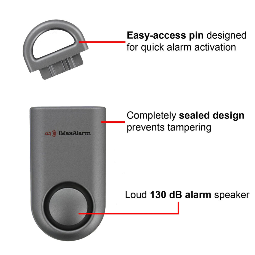 Portable Personal Security Alarm Matte Gun Metal