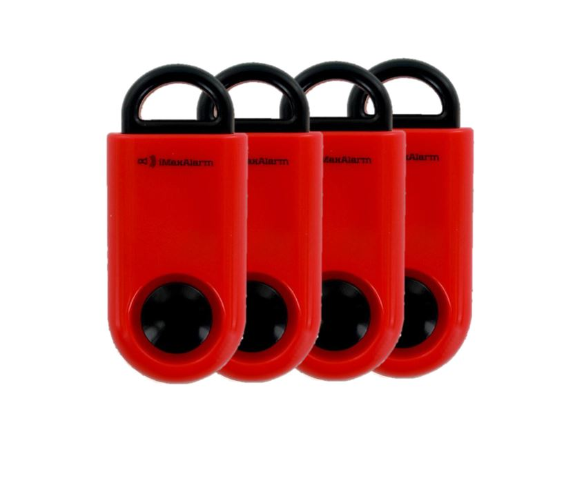 Portable Personal Security Alarm 4 Pack Red-Black
