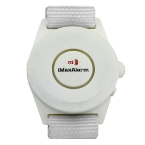 iMaxAlarm 2-in-1 Security + Burglar Alarm Wrist Band Matte White