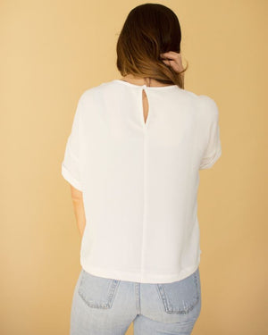 White Short Roll Sleeve Top