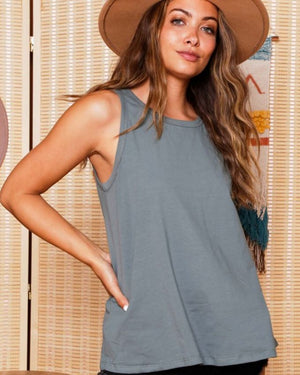 Denim Mineral Washed Ruffle Hem 3/4 Sleeve Top