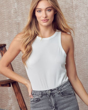 Heather Gray Ribbed Snap Button Tank