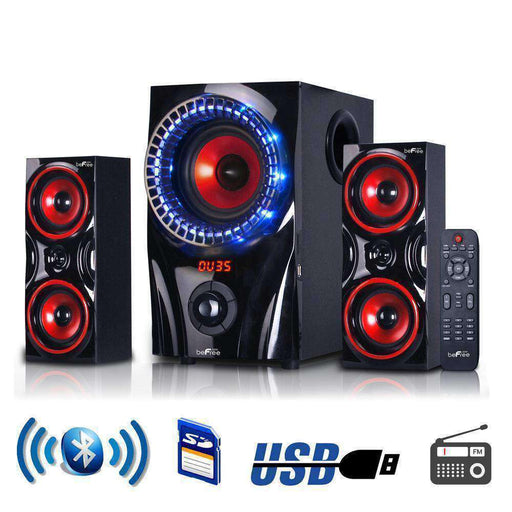 beFree Sound 2.1 Channel Surround Sound Bluetooth Speaker System in Red - PCMatrix Center