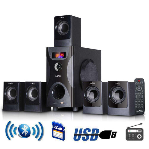 beFree Sound 5.1 Channel Surround Sound Bluetooth Speaker System in Black - PCMatrix Center