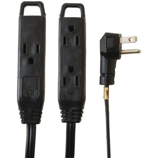 Axis(TM) 45515 3-Outlet Indoor Extension Cord, 8ft (Black) - PCMatrix Center