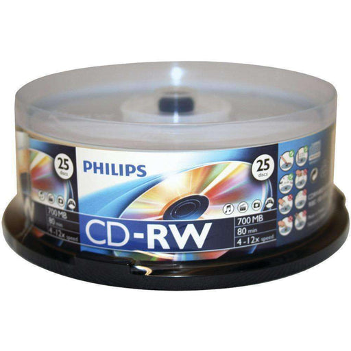 Philips(R) CDRW8012-550 700MB 80-Minute CD-RWs, 25-ct Spindle - PCMatrix Center
