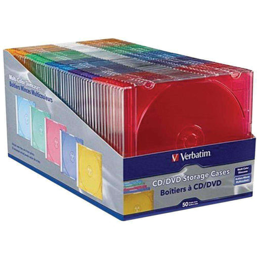 Verbatim Color Cd And Dvd Slim Cases, 50 Pk VTM94178 - PCMatrix Center