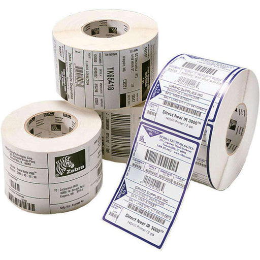 Zebra Z-Perform 2000D 10000294 Perforated Coated Permanent Acrylic Adhesive Labels - 2.5 x 4.0 inches - White - 2280 Pieces - PCMatrix Center