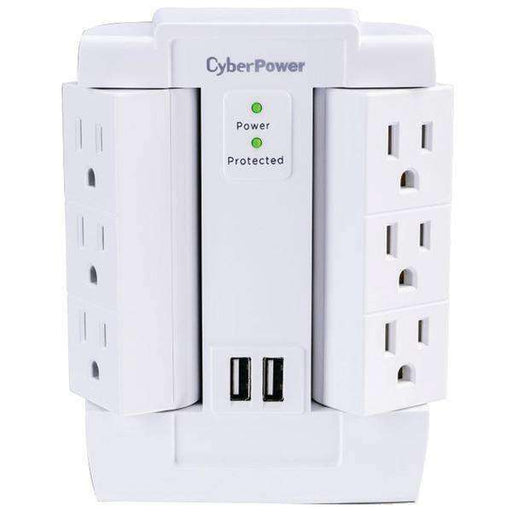 CyberPower CSP600WSURC2 6-Outlet Swivel Professional Surge Protector Wall Tap with 2 USB Ports - PCMatrix Center