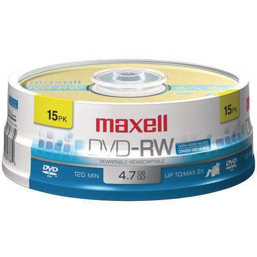 Maxell(R) 635117 4.7GB 120-Minute DVD-RWs (15-ct Spindle) - PCMatrix Center