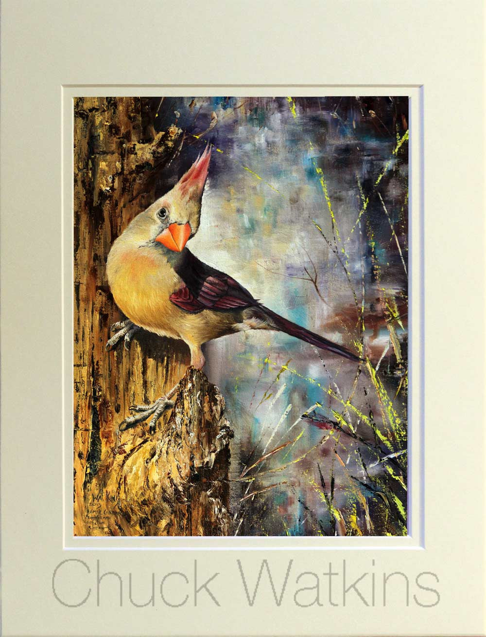 Female Cardinal Matted Print