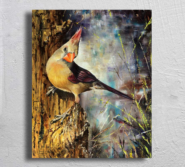"""Female Cardinal"" on Aluminum"