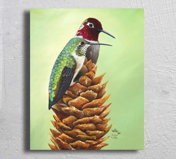 """Friendship on a Pinecone"" on Aluminum"
