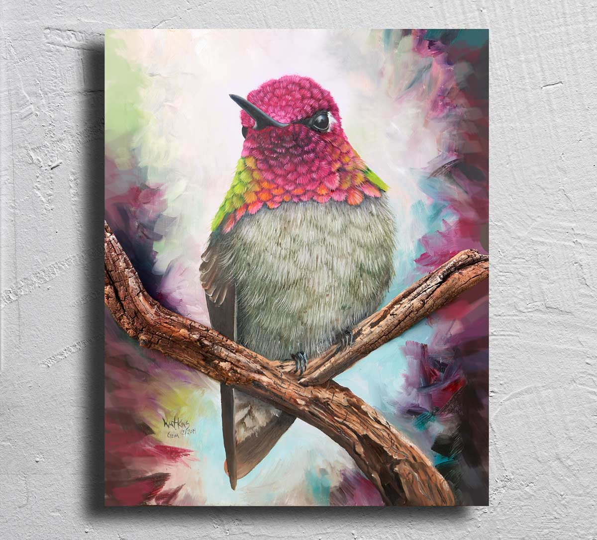 """Gem"" The Anna's Hummingbird on Aluminum"