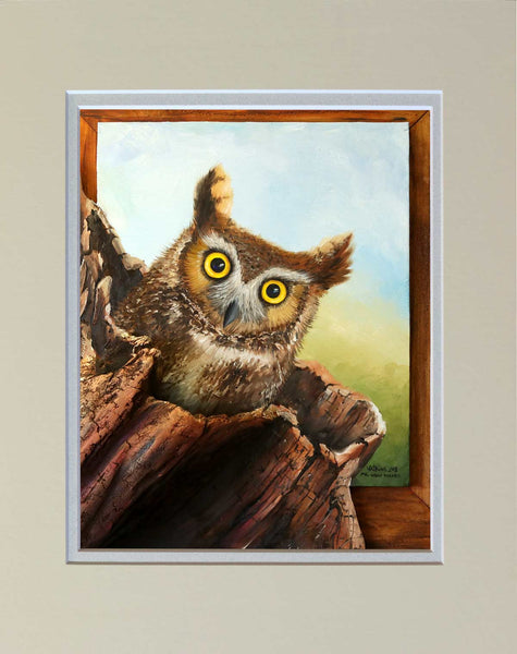 """Mr. Great Horned"" Matted Print"