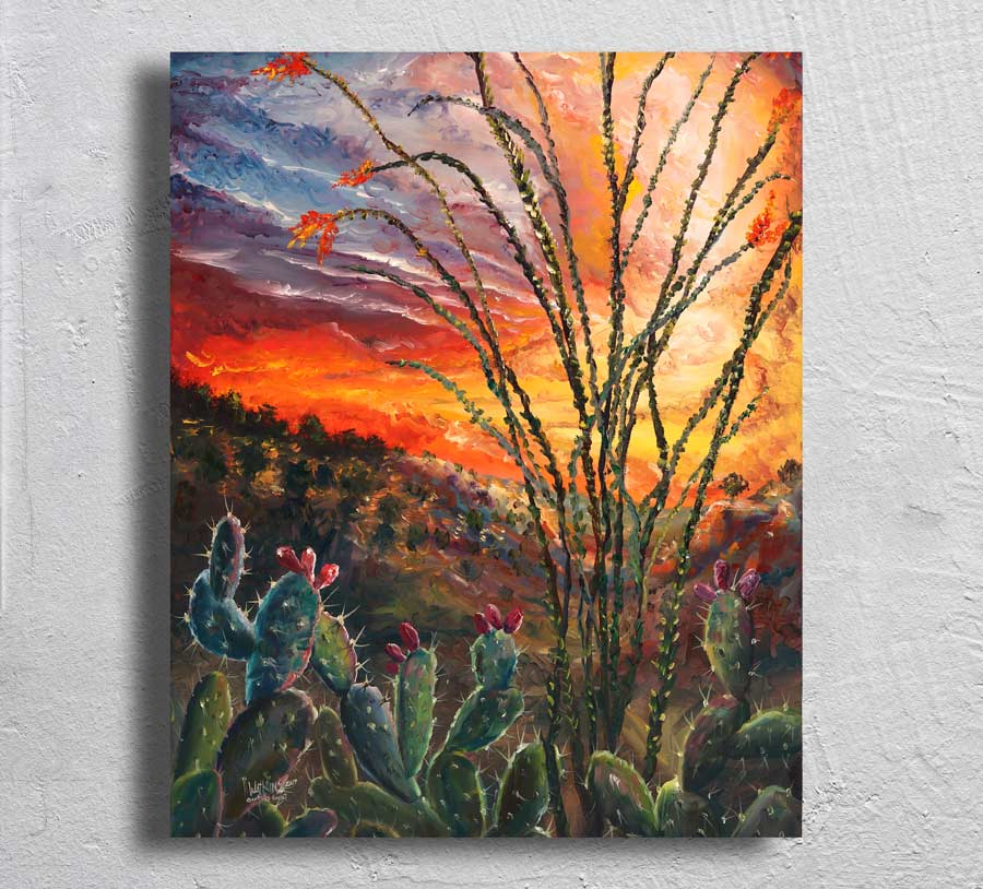 """Ocotillo Sunset"" on Aluminum"
