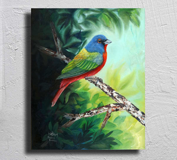 """Painted Bunting"" on Aluminum"